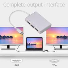5 в 1 тип-c концентратор адаптер для HDMI VGA 3 USB 3,0 Монитор ТВ-проектор конвертер Совместимость с дисплеем ТВ-проектор и т. Д