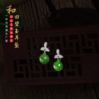 silver restoring ancient ways natural hetian jade transport bead earrings female personality joker earrings wholesale