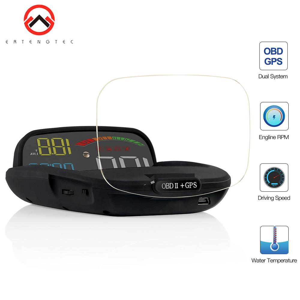 Car HUD Display Car Hud Display 2 in 1 GPS OBD2 Speed Projector Digital GPS Speedometer On-board Computer Security Alarm Hud HD