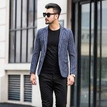 Zogaa 2019 New Mens Smart Casual Suits Slim Blazer Korean Style Striped 3 Color Small