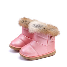 Child Waterproof Shoes Kids Baby Snow Boots Winter Girl 2019 Toddler Little Leather Fur 1 2 3 4 5 6 Years Pink