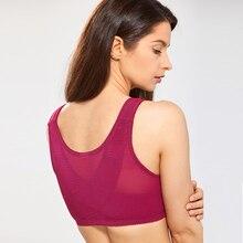 Womens Full Coverage X shape Posture Corrector Wireless Non padded Back Support Lace Front Closure Bra Plus Size DD E F