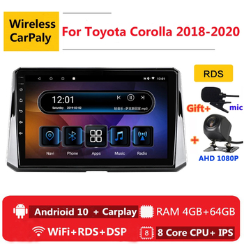 2 din 8 core android 10 car radio auto stereo for Toyota Corolla 2018 2019 2020 navigation GPS DVD Multimedia Player bl carplay image