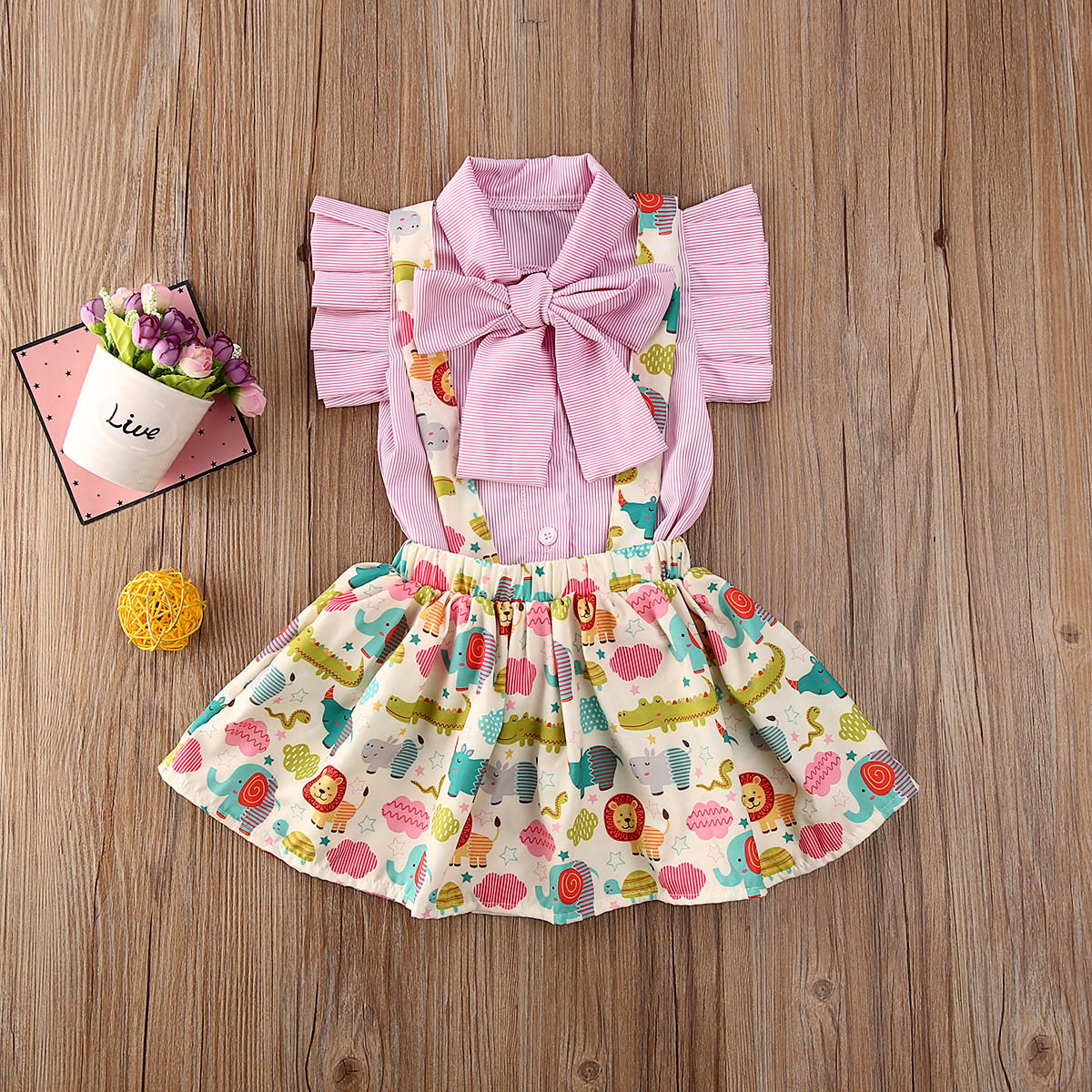 Pudcoco Toddler Baby Girl Clothes Striped Short Sleeve Bowknot Shirt Tops Cartoon Animals Print Strap Mini Skirt 2Pcs Outfit Set