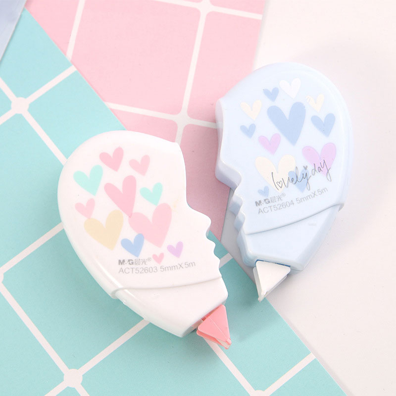 1 Pair Heart Correction Tape New Creative Design 10 Meters Totally Correction Tape 2 Colors Mixed Use Smoothly Stationary