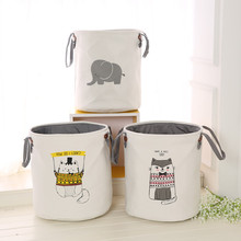 Thickened double-layer storage bucket, fabric round dirty clothes barrel, home folding storage basket laundry basket    Folding