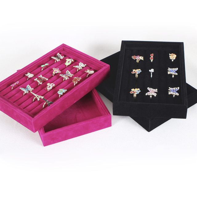 Boîte de présentoir de bijoux de broche de boucle doreille au détail boîte de support en bois de velours