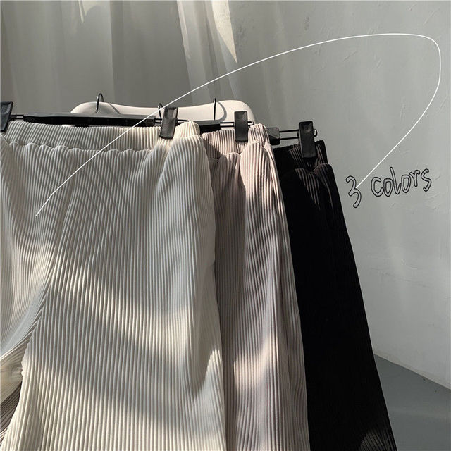 Pleated Straight Pants Men's Fashion Solid Color Elastic Waist Casual Pants Men Streetwear Loose Japanese Ice Silk Trousers Mens 6
