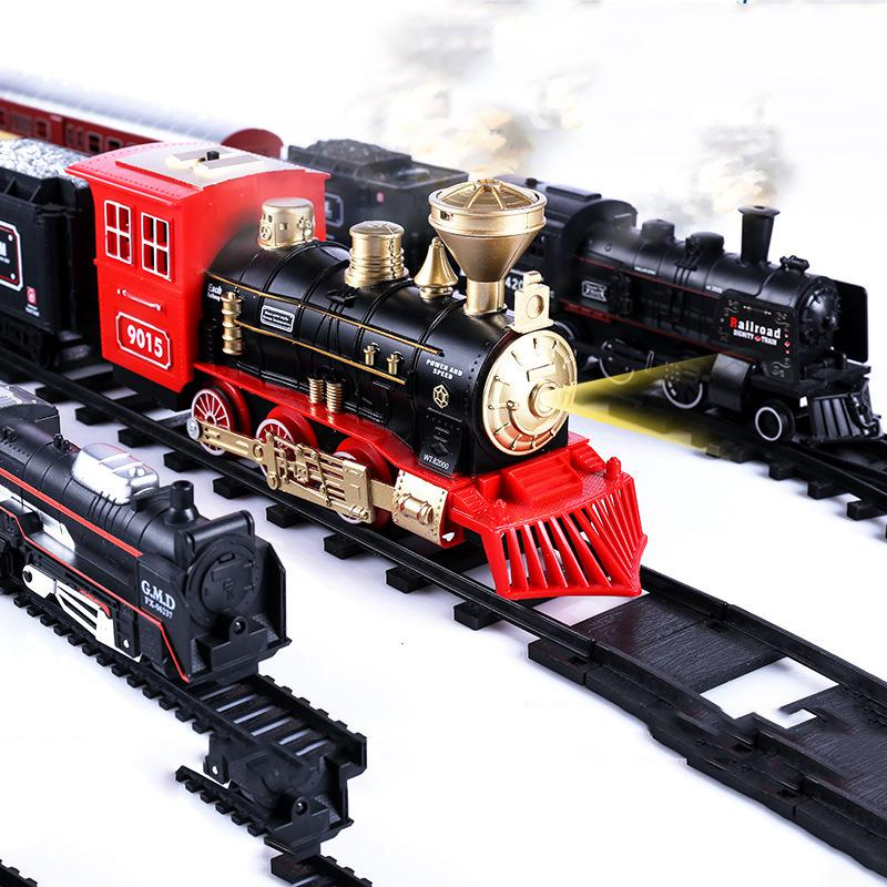 Electric Light Retro Train Toy Set Ornaments With Railway Electric Track Classical Set Toys Children New Year Christmas Gifts
