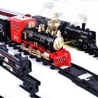 Luz elétrica retro trem brinquedo conjunto ornamentos com trilha elétrica ferroviária clássico conjunto brinquedos crianças ano novo presentes de natal