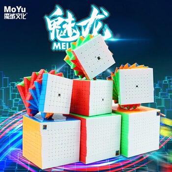 MoYu Meilong 6x6 7x7, 9x9 10x10x11x11, 12x12 Stickerless Meilong-magia-Cubo de alto nivel velocidad cubos rompecabezas juego Cubo mágico