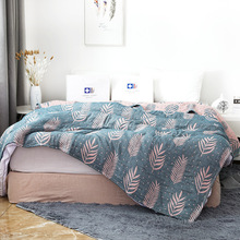 Seaweed Pattern 4 Layers of Bamboo Cotton Muslin Blanket Bed Sofa Travel Breathable  Style Large Soft Throw Para