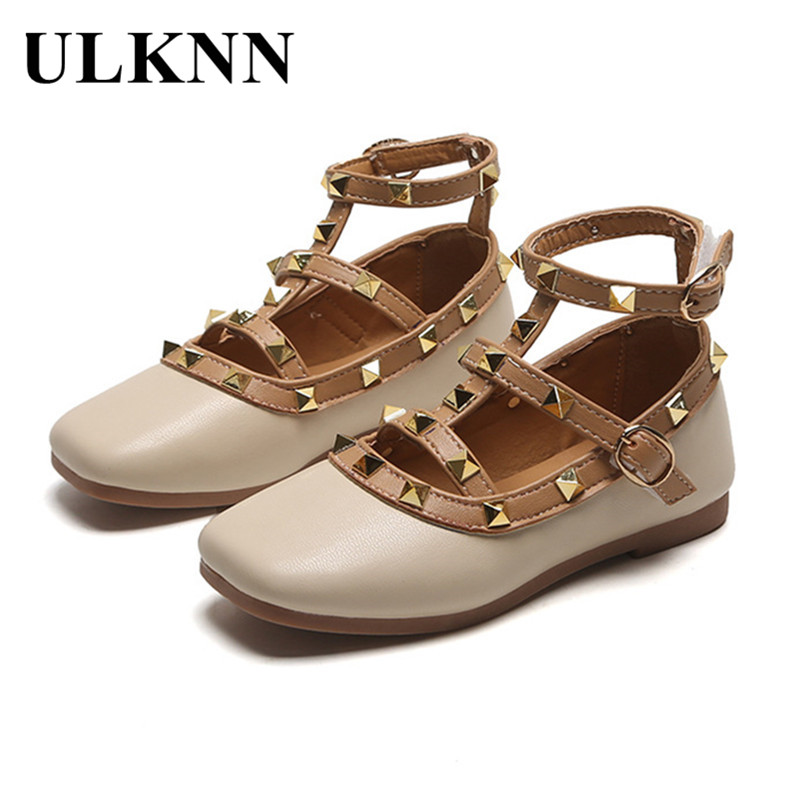 ULKNN  Fashion Rivet Little Girl Princess Shoes Western Style Soft-Sole Kid's Leather Shoes Girls Hollow Out Gladiator Sandals