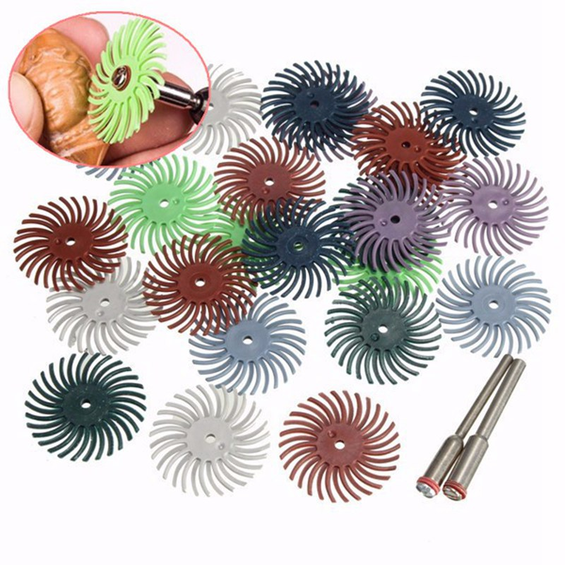 24Pcs Radial Bristle Disc Brush Assortment 1 Inch 8-Grits-3 Each + 2 Connection Handle Abrasive Tool Dremel Rotary Suit Woodwork