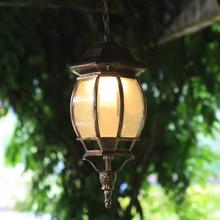 European vintage bronze alunimnum waterproof outdoor pendant lamp American villa retro glass E27 LED bulb pendant light fixture