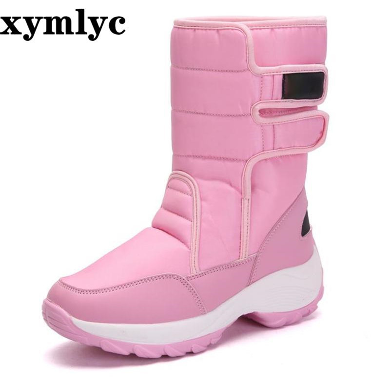 Snow boots female waterproof 2019winter plus velvet warm round head comfortable flat bottom nonslip casual High help plush boots in Mid Calf Boots from Shoes