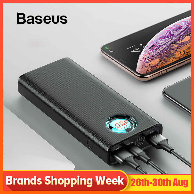 Baseus 20000mAh Power Bank For iPhone Samsung Huawei Type C PD Fast Charging + Quick Charge 3.0 USB Powerbank External Battery sticker