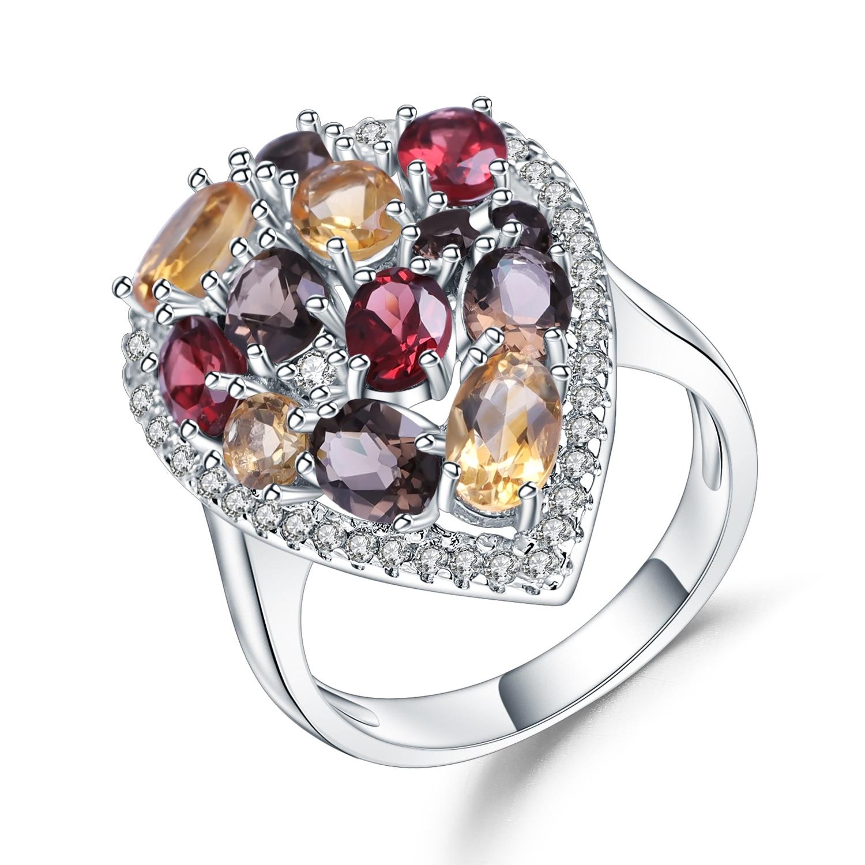 Gem's Ballet Multicolor Natural Garnet Citrine Smoky Quartz Gemstone Rings 925 Sterling Silver Cocktail Ring For Women Jewelry