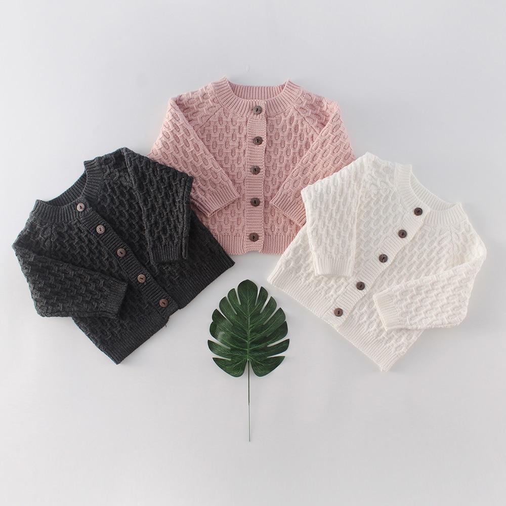 Diamond Pattern Boys Girls Outerwear 2020 Spring Baby Sweater Knitting Solid Color Top Versatile Cardigan Newborn Knit Sweater
