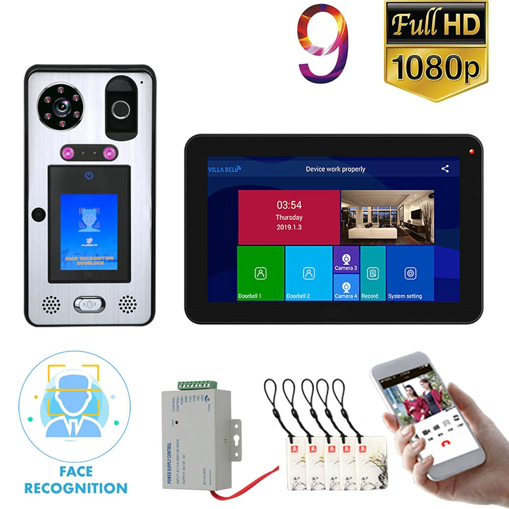 9 Inch  Wifi Wireless Face Recognition Fingerprint IC Video Door Phone Doorbell Intercom System With Wired 1080P IR Camera