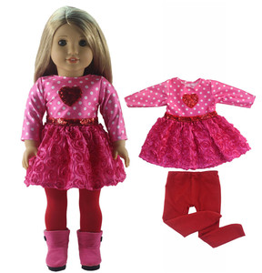 Image 5 - New 1 Set Pink Dress Doll Clothes for 18 American Bitty Baby Doll Handmade Fashion Lovely Clothes X89