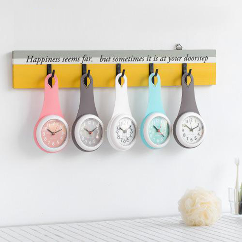 Bathroom Wall Clock Shower Silicone Suction Cup Waterproof Anti-drop Silent Home Decoration Wall Watch Kitchen Refrigerator