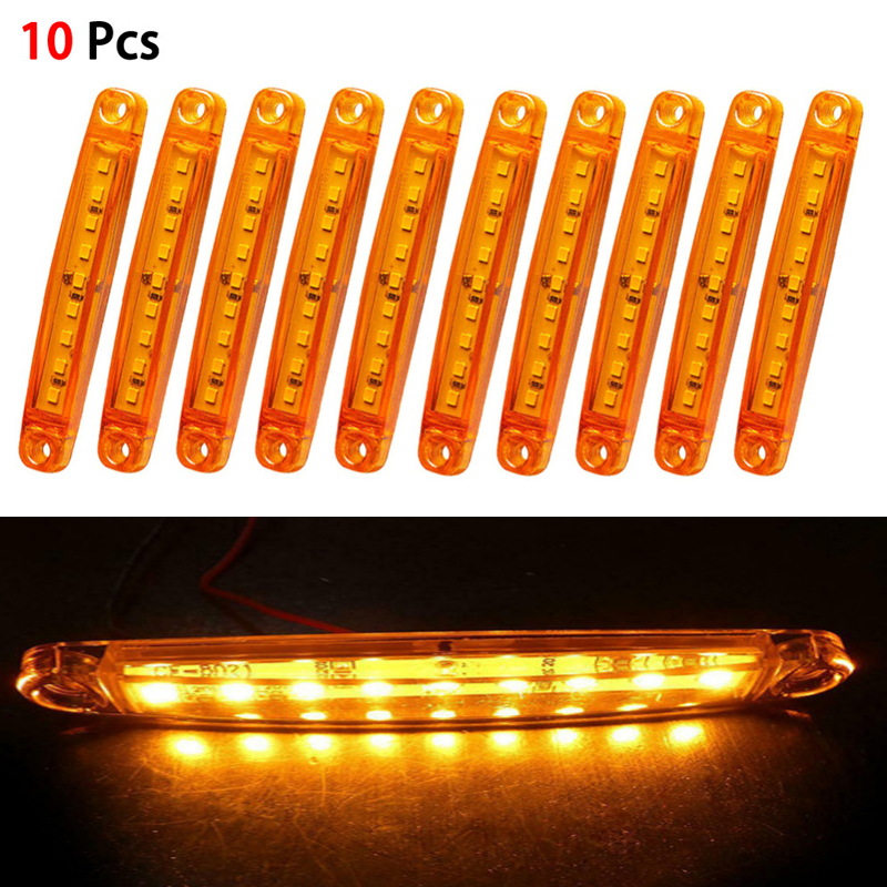 10pcs Car Led 12V 24V Truck Side Marker Indicator Lights Plastic Amber Turn Signals Tail Lights License Plate Parking Light Lamp
