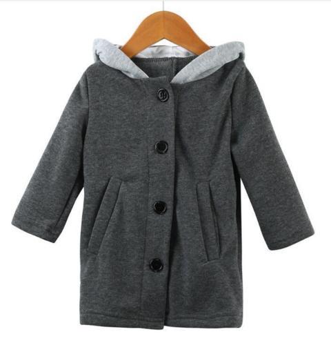 Осенне-зимнее милое пальто с капюшоном и ушками для маленьких девочек, куртка, одежда для малышей, худи с заячьими ушками, верхняя одежда, пальто - Цвет: Серый