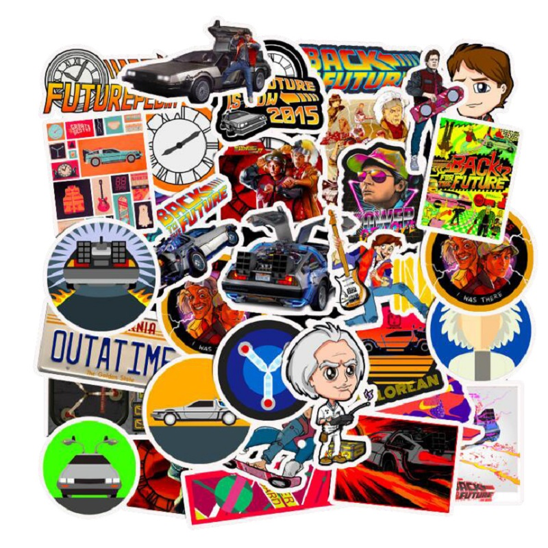 50Pcs Classic Movie Back To The Future Explosions Stickers Suitcases Motorcycle Trolley Case Notebook Guitar Waterproof Stickers