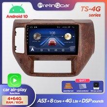 Prelingcar android 10.0 não 2 din dvd rádio do carro multimídia player de vídeo navegação gps para nissan patrol 2011 12 13 14 2015 dsp
