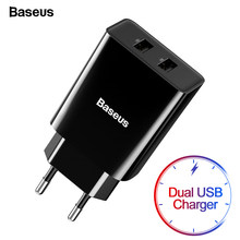 Baseus Mini Dual USB Charger EU Plug Adapter Wall Fast Charger For iPhone Samsung Xiaomi Mi Huawei Portable Mobile Phone Charger(China)