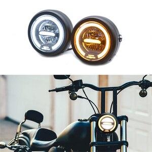 Image 1 - Faro delantero LED Vintage para motocicleta CG125 Cafe Racer, DRL, Retro, de Metal, 12V, 55W, Hi Beam, 6,8 pulgadas