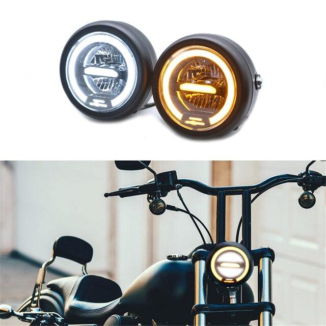 Faro delantero LED Vintage para motocicleta CG125 Cafe Racer, DRL, Retro, de Metal, 12V, 55W, Hi Beam, 6,8 pulgadas