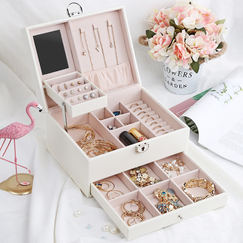 Large Capacity Jewelry Organizer Leather Earring Necklace Ring Bracelet Carrying Cases Exquisite Makeup Case Accessories Items