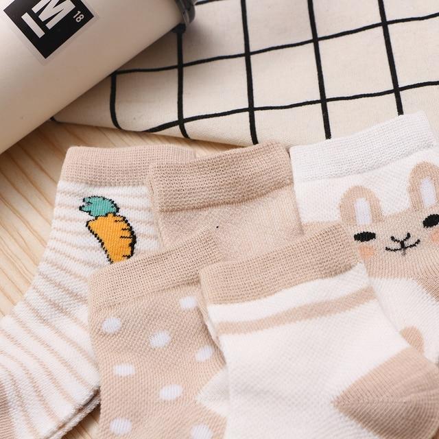 5Pairs/lot 0-9Y Kids Socks Summer Cotton Cartoon Animal Kids Socks Carrot Girls Mesh Cute Newborn Boy Toddler Children Socks 5