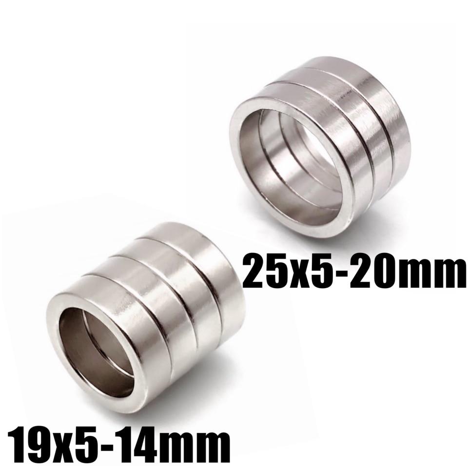 3/10/50/100 шт., Круглые неодимовые магниты, диаметр 25x5 мм, отверстие 20 мм, 19x5, 14 мм