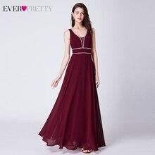 Блестящие вечерние платья Ever Pretty А-силуэта с двойным v-образным вырезом без рукавов Элегантные Дешевые шифоновые вечерние платья Robe De Soiree
