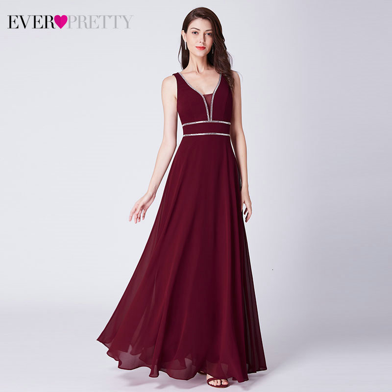 Sparkle   Evening     Dresses   Ever Pretty A-Line Double V-Neck Sleeveless Elegant Cheap Chiffon Formal Party Gowns Robe De Soiree 2019
