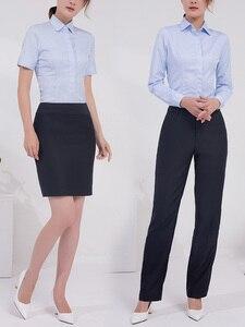 Vrouwen Blauw Zakelijke kleding Office Lange Korte Shirt Bank van Uniform Slim Fit Shirts Casual Vrouwelijke Kostuum Blauw Gratis Verzending