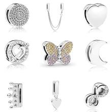 Настоящее серебро 925 проба отражения ослепительно клип талисманы Круглый Хрустальная корона бусины в форме сердца Fit Pandora для женщин браслет