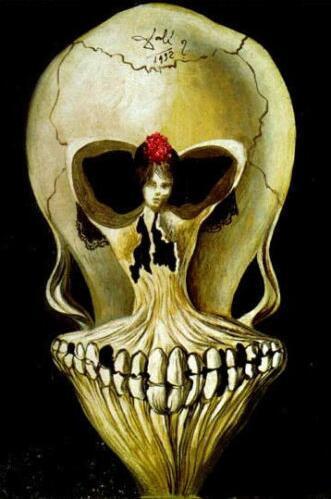 Salvador Dali Gothic Skull Painting Printed on High-quality Silk Cloth 1