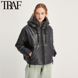 ONKOGENE Frauen Vintage Warme Winter Faux Leder Jacke Padded Mantel Mode Langarm Zip Taschen Kordelzug PU Oberbekleidung Chic Tops
