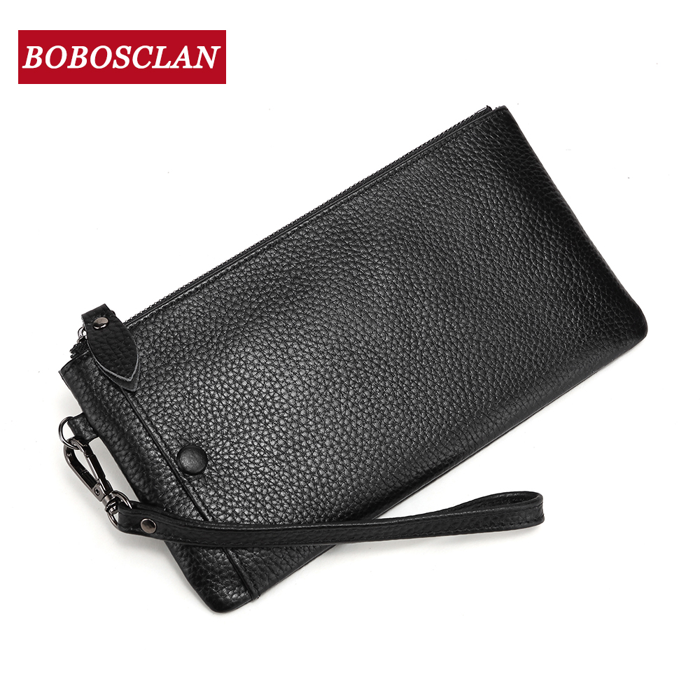 BOBOSCLAN Genuine Leather Women Wallets Card Holder Long Zipper Wallet Ladies Clutch Bag Purse Female Luxury 2020 Cellphone Bag