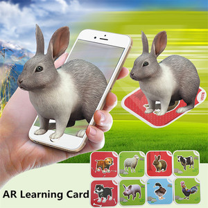 Phone Scan Children Educational AR Toy 4D Vivid Animal Learning Card interaction virtual reality Games With Multi Language(China)