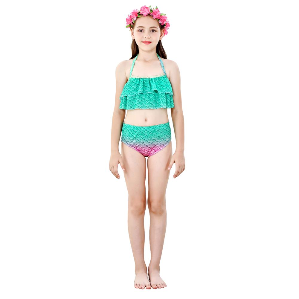 Image 5 - Swimmable Children Mermaid Tails With Monofin Fin Bikinis Set Girls Kids Swimsuit Mermaid Tail Cosplay Costume for Girl SwimmingGirls Costumes   -