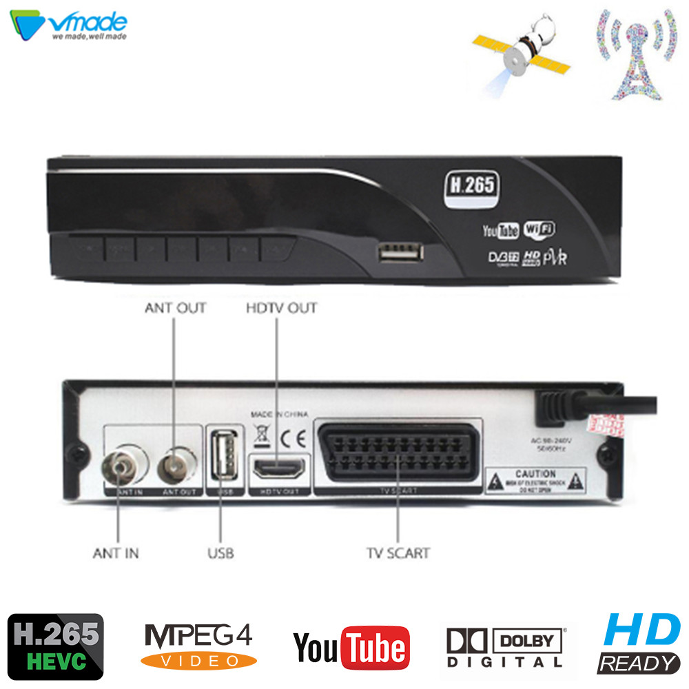 DVB-T2 HD 1080 P Digital Terrestrial Receiver H.265/HEVC DVB-T Sintonizador de TV Suporte Dolby AC3 Youtube MPEG4 Conjunto Padrão top Box