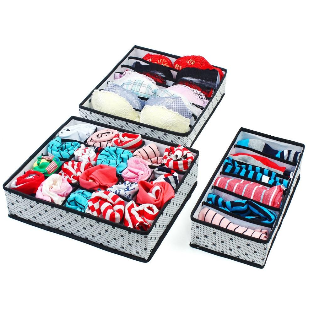 New 3 Pcs Storage Boxes Underwear Divider Drawer Lidded Closet Organizer Ropa Interior Organizador For Ties Socks Shorts Bra