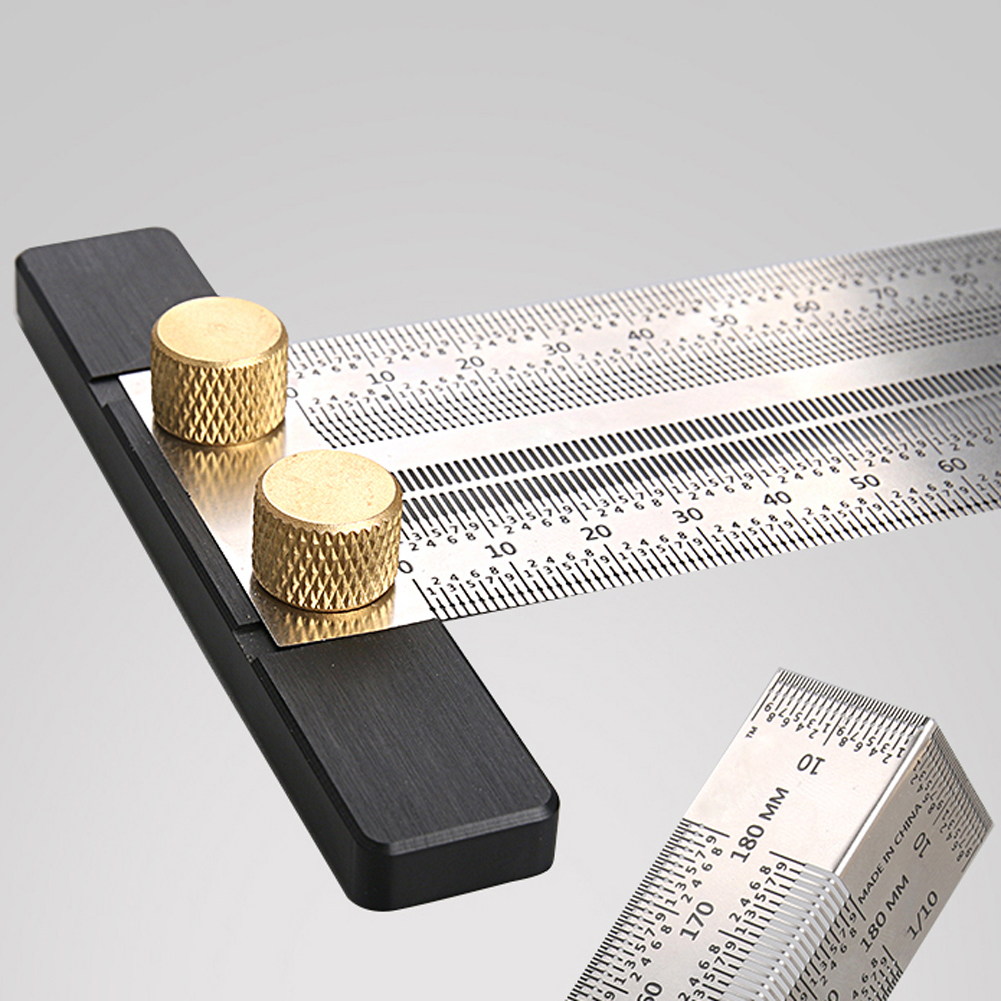 Scale Ruler T-type Hole Ruler Stainless Woodworking Scribing Mark Line Gauge Carpenter Measuring Tool 180/200/300/400mm