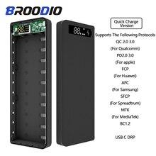 Hızlı şarj sürüm 10*18650 taşınabilir güç kaynağı kılıfı çift USB cep telefonu şarj QC 3.0 PD DIY kabuk 18650 pil tutucu şarj kutusu