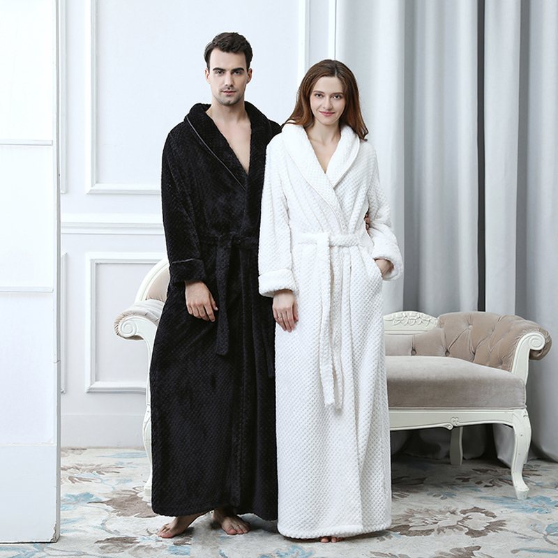 Extra Long Thick Waffle Coral Fleece Winter Warm Bath Robe Men Women Flannel Kimono Bathrobe Male Dressing Gown Mens Nightwear